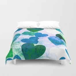 Fab Green & Blue Grungy Hearts Design Duvet Cover