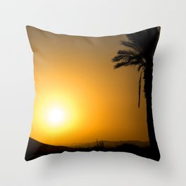 Golden Andalusian sunset with silhouette palm trees and mountain Throw Pillow