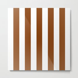 Saddle brown - solid color - white vertical lines pattern Metal Print