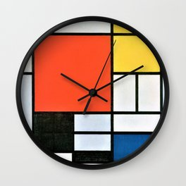 Composition With Red, Yellow, Blue, And Black - Piet Mondrian Wall Clock