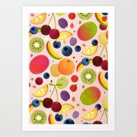fruit Art Prints featuring Fruit by Malin Koort
