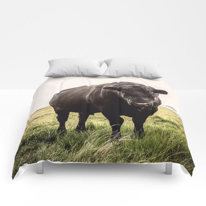 Big Black Angus Bull Comforters
