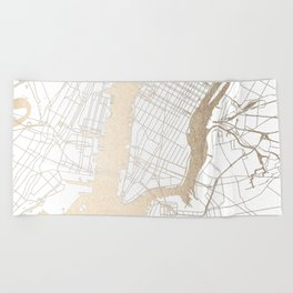 New York City White on Gold Beach Towel