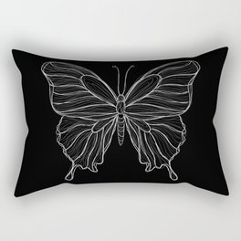 Sketchy Butterfly | Sketchy Lines | Line art | Black and White Rectangular Pillow