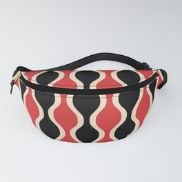 Classic Retro Ogee Pattern 937 Black and Red Fanny Pack