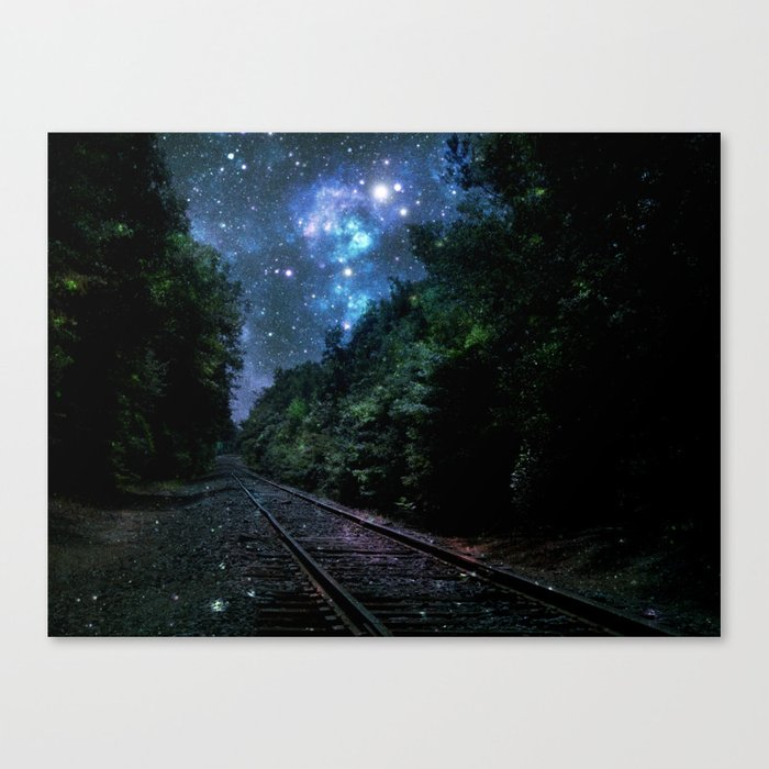 Train Tracks : Next Stop Anywhere Blue Side View Canvas Print