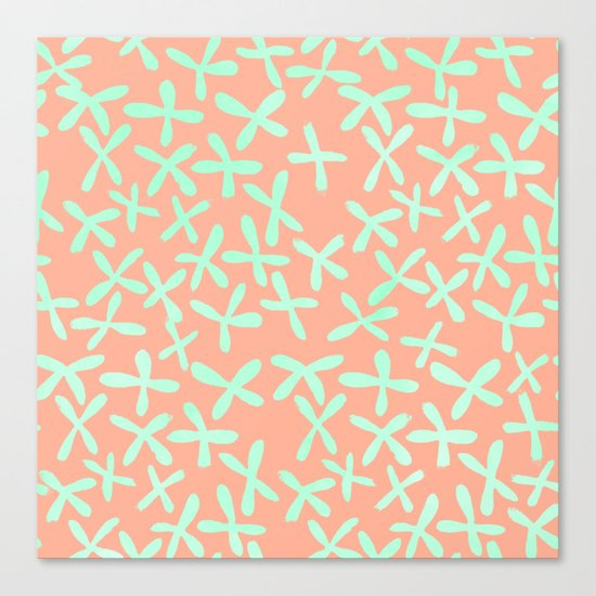 Sweet Life Firefly Peach Coral + Mint Meringue Canvas Print