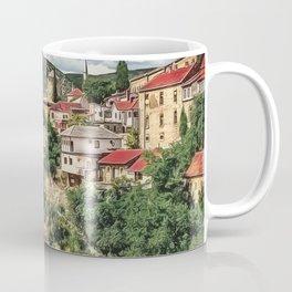 0M-021 - Mostar Old Bridge, Old city of Mostar, Stari Most Bosnia scenery, Travel art, Coffee Mug