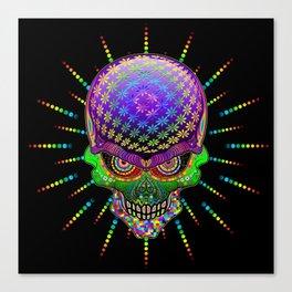 Crazy Skull Psychedelic Explosion Canvas Print