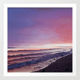 Maui Sunset Pixel Sort Art Print