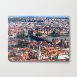 Prague Cityscape   Red Rooftop Landscape Photograph of the Old Romantic City Bridge Metal Print