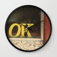 kim sy ok Wall Clocks featuring OK by Michelle & Chris Gerard