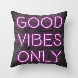 Neon Good Vibes - Pink Throw Pillow