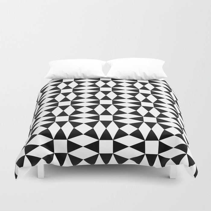 Black And White Triangle Pattern Duvet Cover By Davidzydd