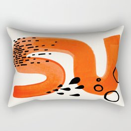 Mid Century Modern abstract Minimalist Fun Colorful Shapes Patterns Orange Brush Stroke Watercolor Rectangular Pillow