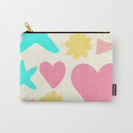 Pastel Shapes Pattern on Pale Yellow Carry-All Pouch