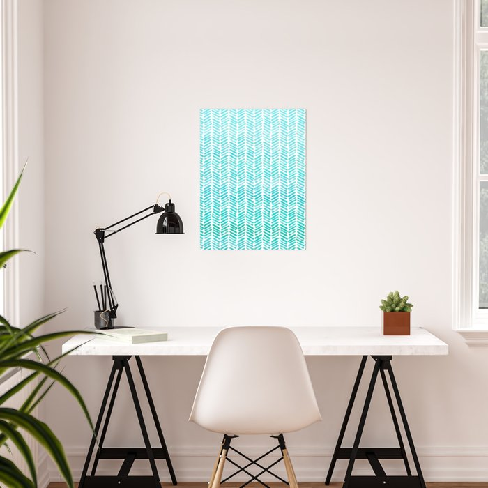 Handpainted Chevron pattern - small - light green and aqua teal Poster