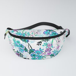 Turquoise Lavender Floral Fanny Pack