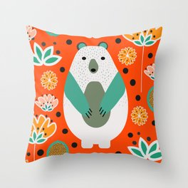 Bear in a floral spring garden Throw Pillow