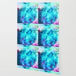 Turquoise Fuchsia Sparkle Stars Wallpaper