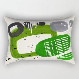 Fun Mid Century Modern Abstract Minimalist Olive Green Rings Grey Black Accent Rectangular Pillow