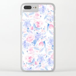Scattered Lovers Blue on White Clear iPhone Case
