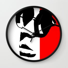 Contemporary Hipster - Black, White, Red Vector Pop Art Wall Clock