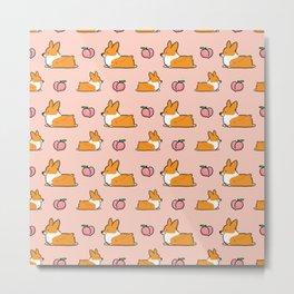 Corgi Peach Sploot fabric Metal Print