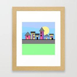 Pastel Daytime Houses Framed Art Print