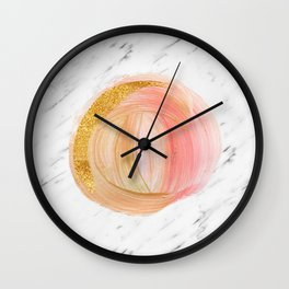 Sunny rose gold marble Wall Clock