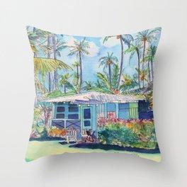 Kauai Blue Cottage 2 Throw Pillow