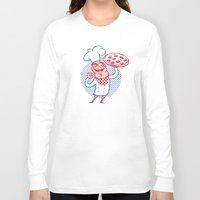chef Long Sleeve T-shirts featuring Pizza Chef by drawgood