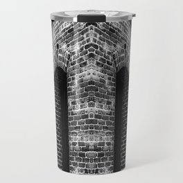 old brick building with windows in black and white Travel Mug