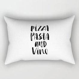 Pizza Pasta and Vino black and white typography poster black-white design home decor kitchen wall Rectangular Pillow