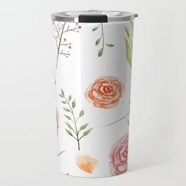Ambrosia - Watercolor Floral Style, Individual Watercolor Wedding Flowers Clipart Print Design Travel Mug
