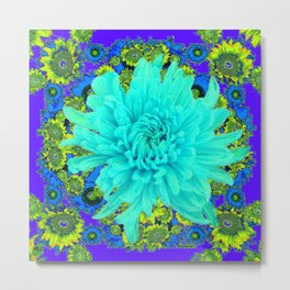 AQUA Spider Mum FLOWER GARDEN  PURPLE-LIME FLOWER GARDEN Metal Print