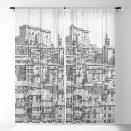 Soriano nel Cimino, Italy, watercolor painting Sheer Curtain