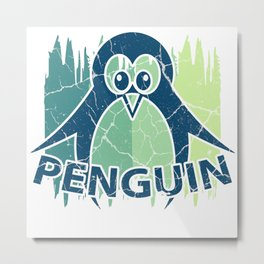 Penguin Gift, Antarctic South Pole Emperor Penguin Metal Print
