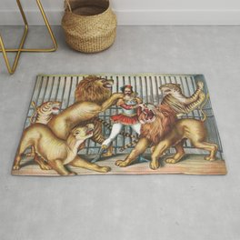 The Lion Tamer - Vintage Circus Art, 1873 Rug