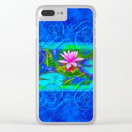 Lotus Blossom Blues Clear iPhone Case