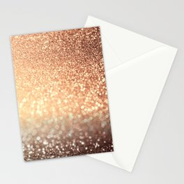 Cozy Copper Espresso Brown Ombre Autumnal Mermaid Glitter Stationery Cards