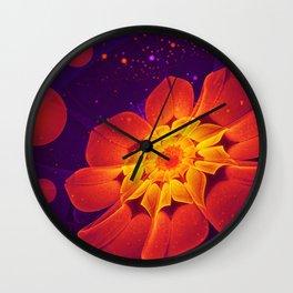 Royal Blue, Red, and Yellow Fractal Gerbera Daisy Wall Clock