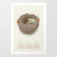 calendar 2015 Art Prints featuring Seasonal Calendar: Autumn 2015 by Faille Bloom Illustration