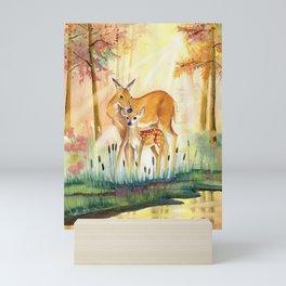 Mom and Little Deer Mini Art Print