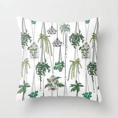 hanging pots pattern Throw Pillow