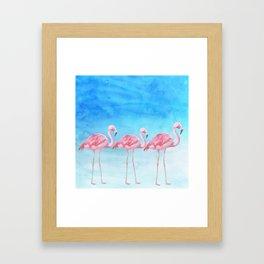 Flamingo Bird Summer Lagune - Watercolor Illustration Framed Art Print
