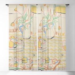 YELLOW TULIPS, WINE AND CHEESE Sheer Curtain