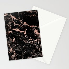 Modern girly faux rose gold foil black marble Stationery Cards