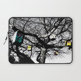 Black and White, colored bird houses Laptop Sleeve
