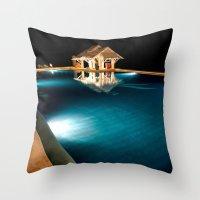 bar Throw Pillows featuring Pool Bar by Adrian Evans